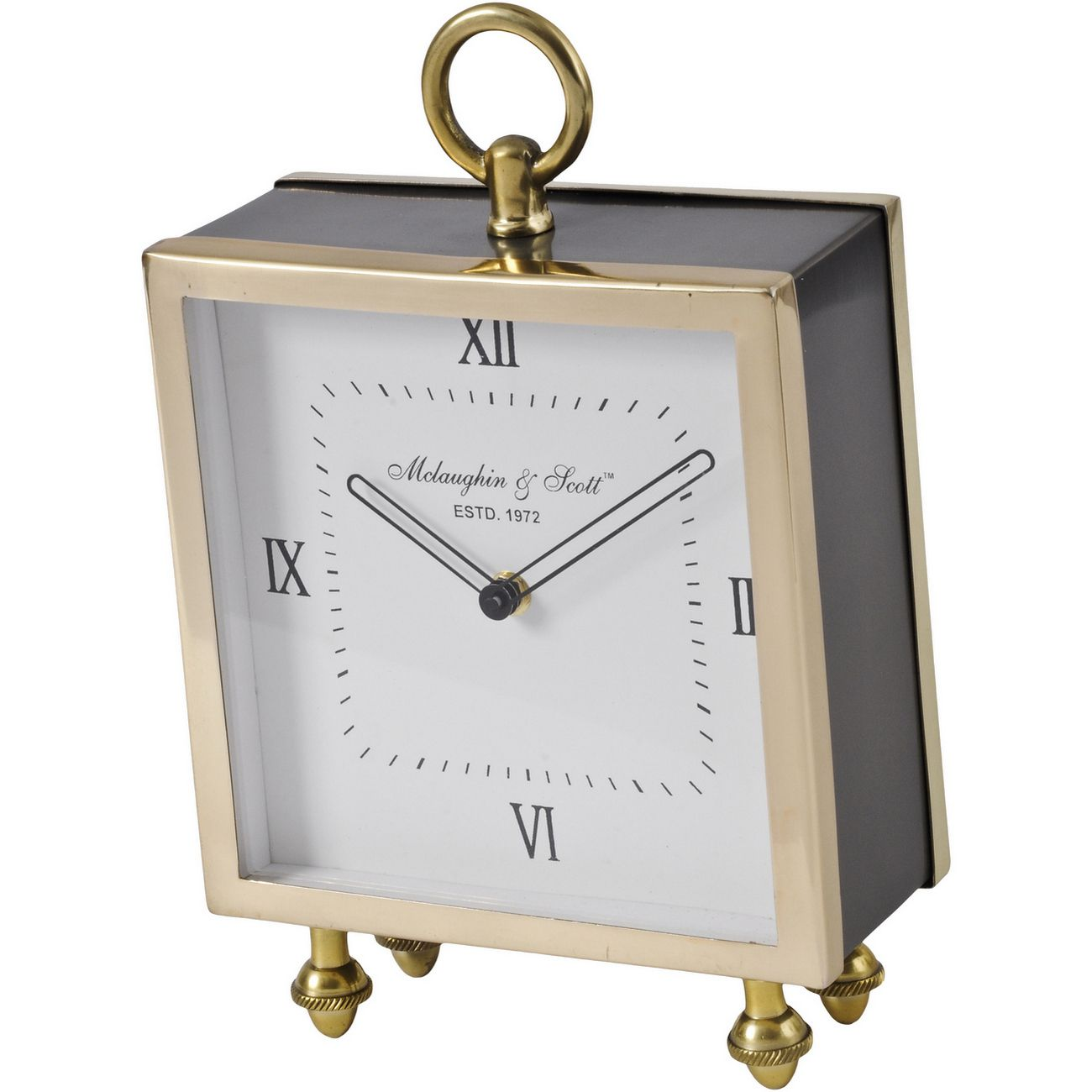 Satin Grey And Gold Square Mantel Clock thumbnail