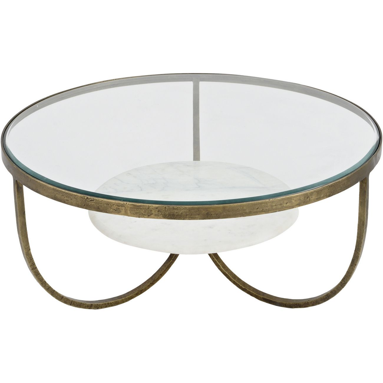 Nolita White Marble And Antique Gold Iron Coffee Table thumbnail