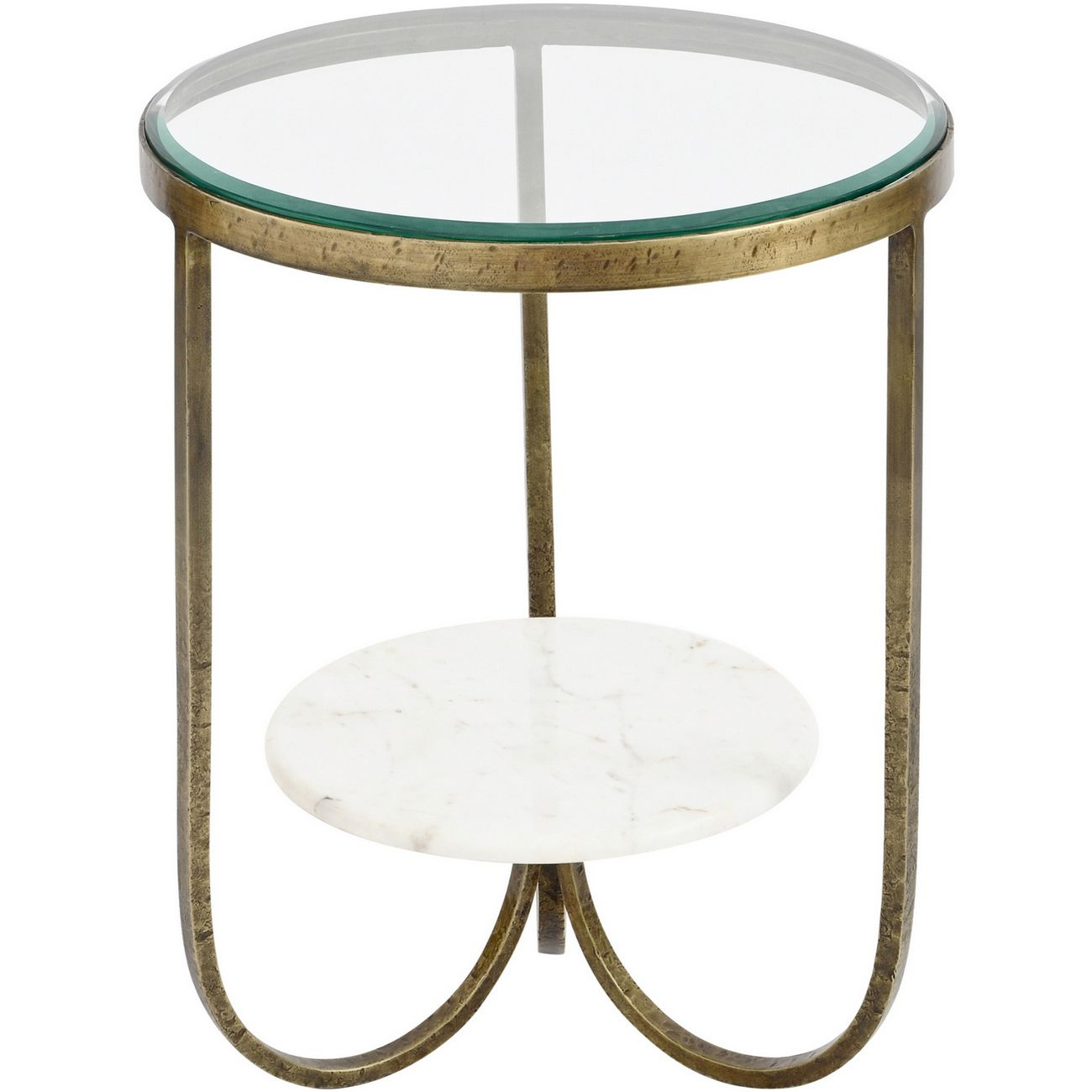 Nolita White Marble And Antique Gold Iron Side Table thumbnail
