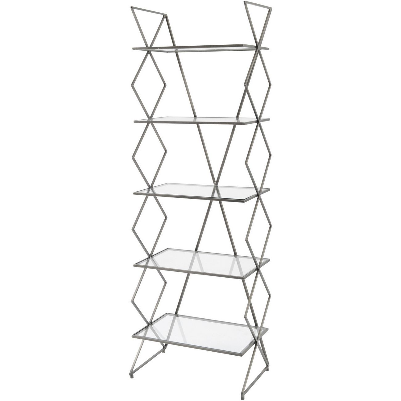 Bossa Five Tier Antique Silver Cross Frame Iron Shelving Unit thumbnail