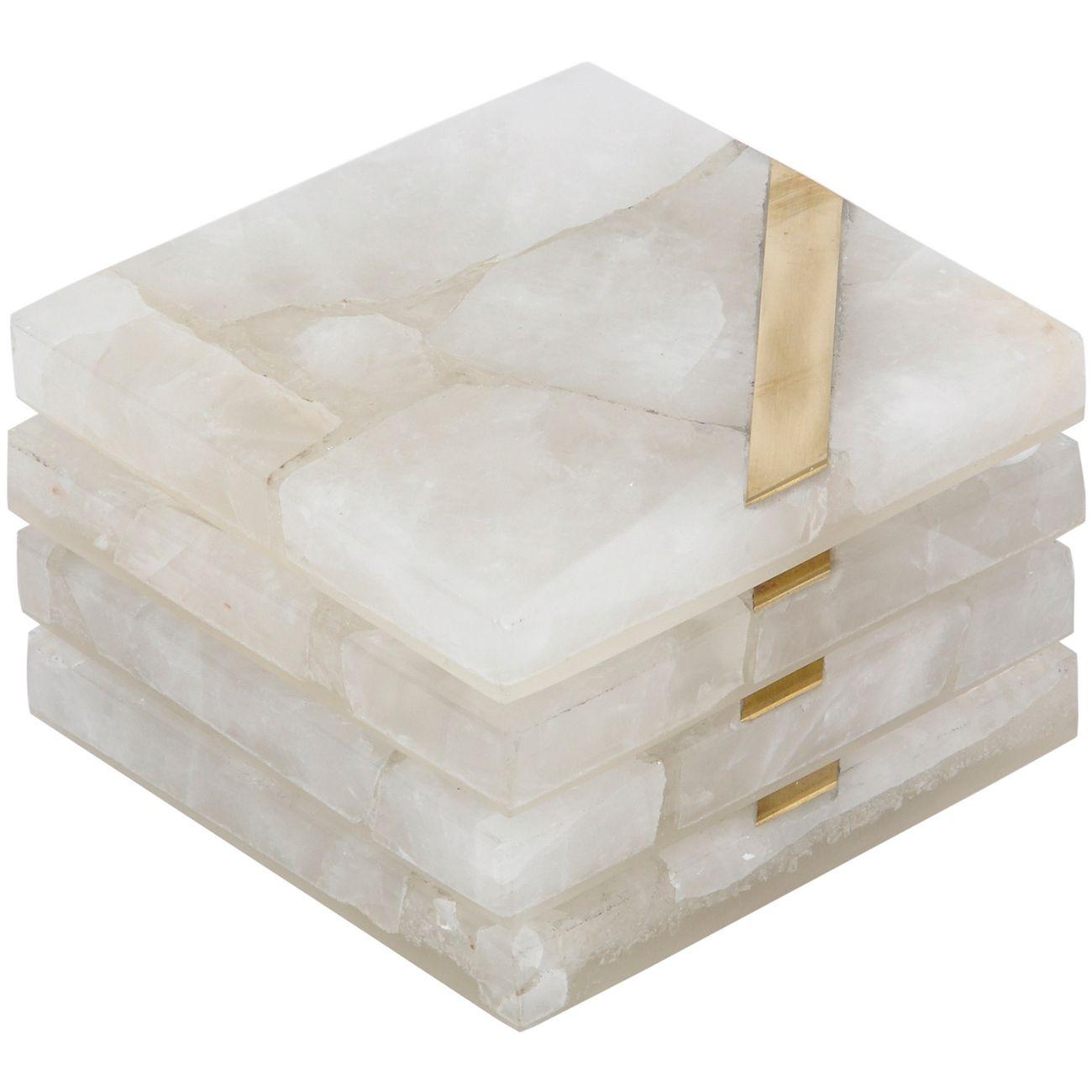 Tavora Ashira White Quartz Coaster Set (Set of 4) thumbnail