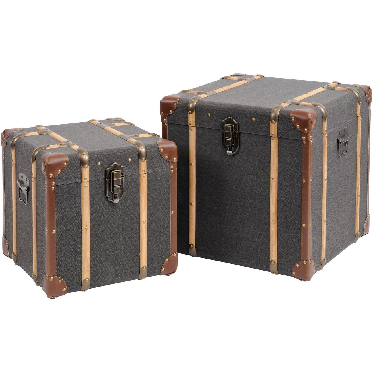 Horsham Set Of Two Grey Wooden Trunks thumbnail
