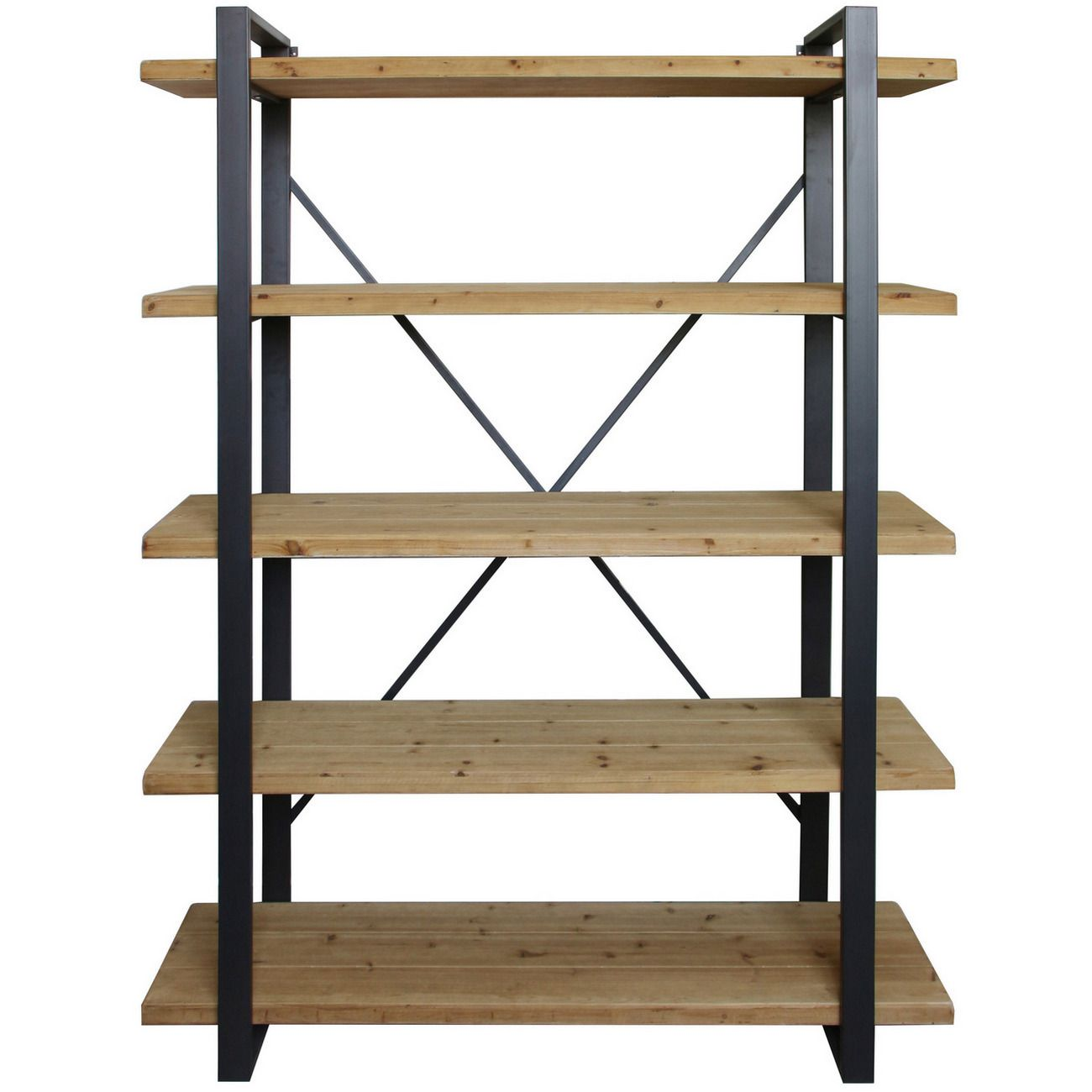 Kempsey Fir Wood And Iron Five Tier Shelving Unit thumbnail