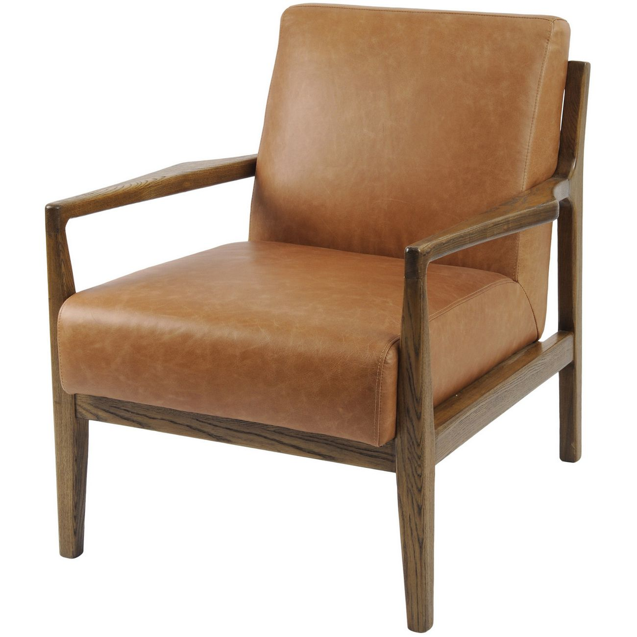 Albury Tan Leather And Wood Occasional Chair thumbnail