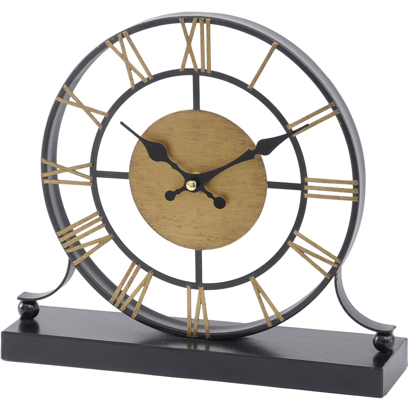 Black and Antique Brass Skeleton Mantel Clock thumbnail