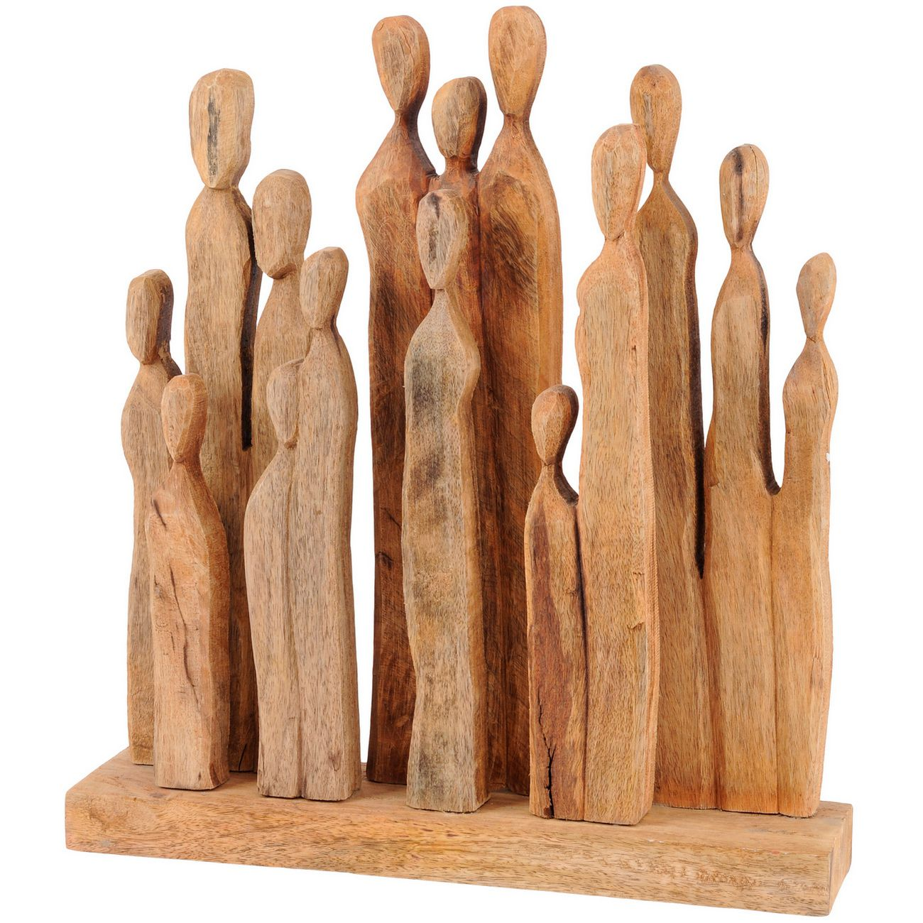 Large Group of Standing Figures Abstract Wooden Sculpture thumbnail