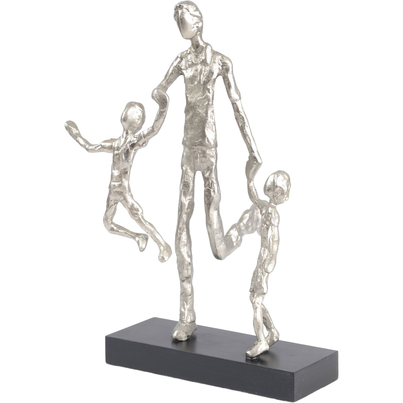 Father Playing with Children Silver Sculpture thumbnail