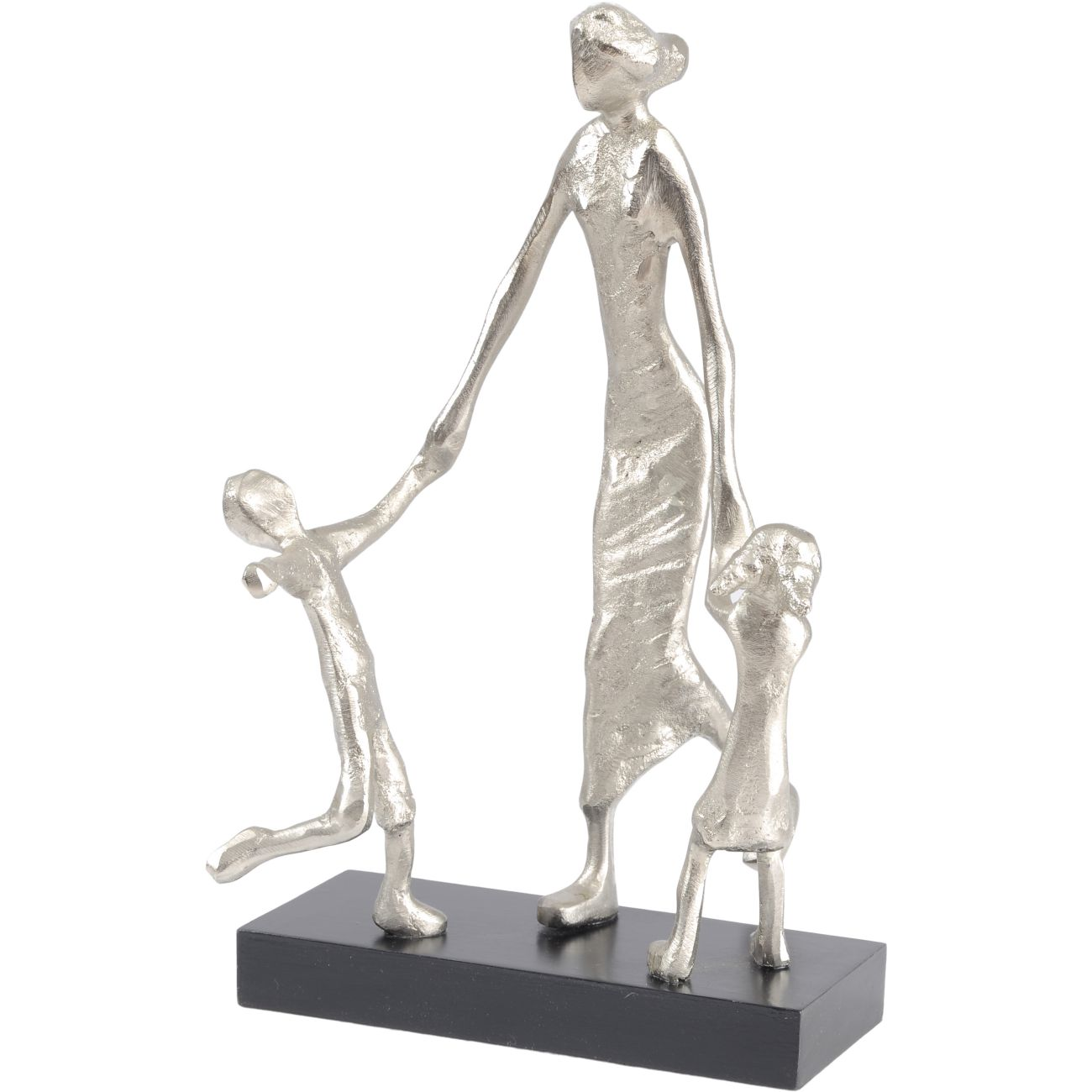 Mother Playing with Children Silver Sculpture thumbnail