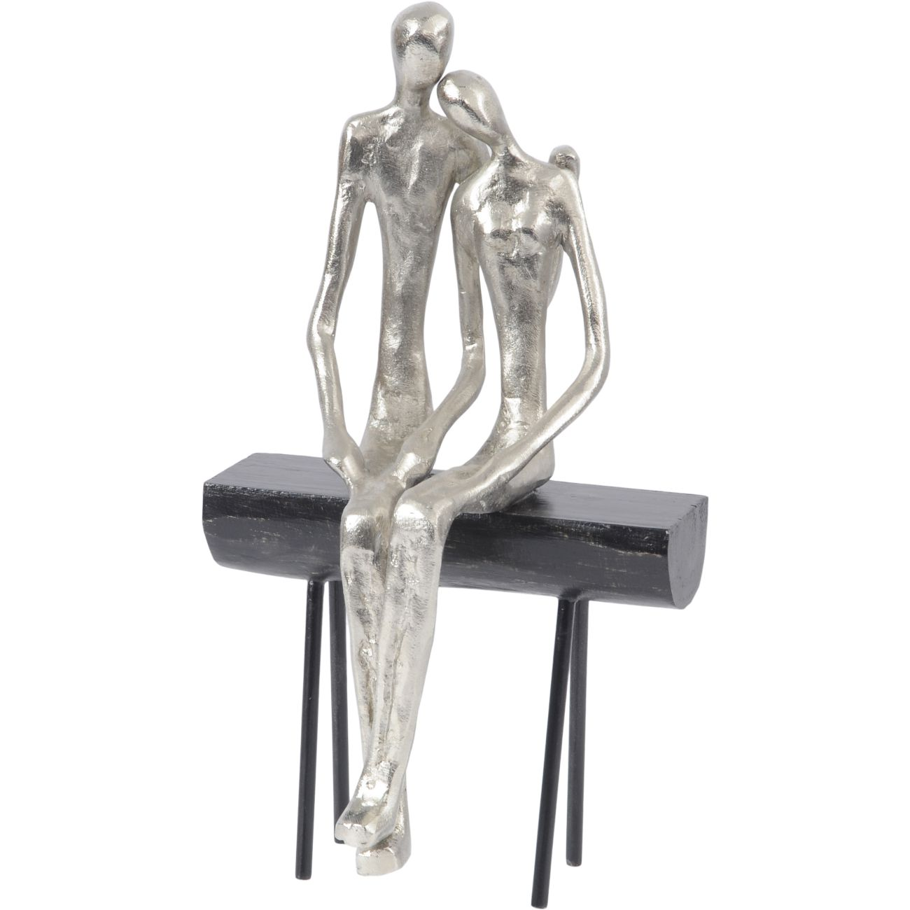 Couple Sitting on Bench Silver Sculpture thumbnail