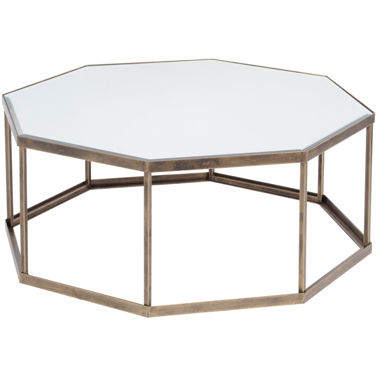 Occtaine Antique Gold Octagonal Coffee Table thumbnail