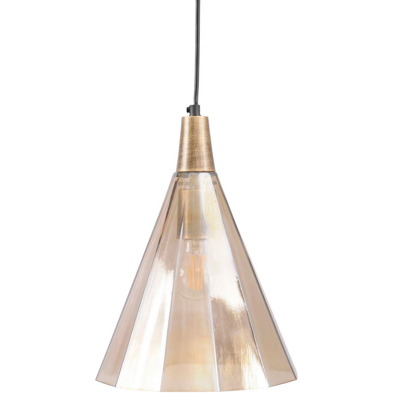 Odessa Small Brown Faceted Cone Pendant Light thumbnail