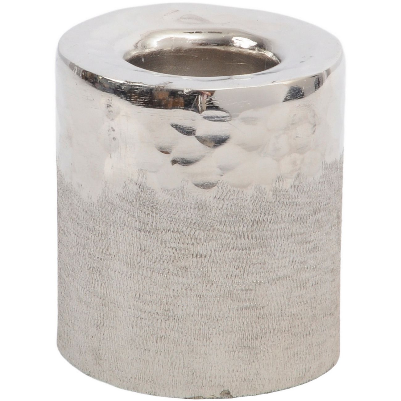 Fuse Hammered and Brushed Small Tealight Holder in Silver Finish thumbnail