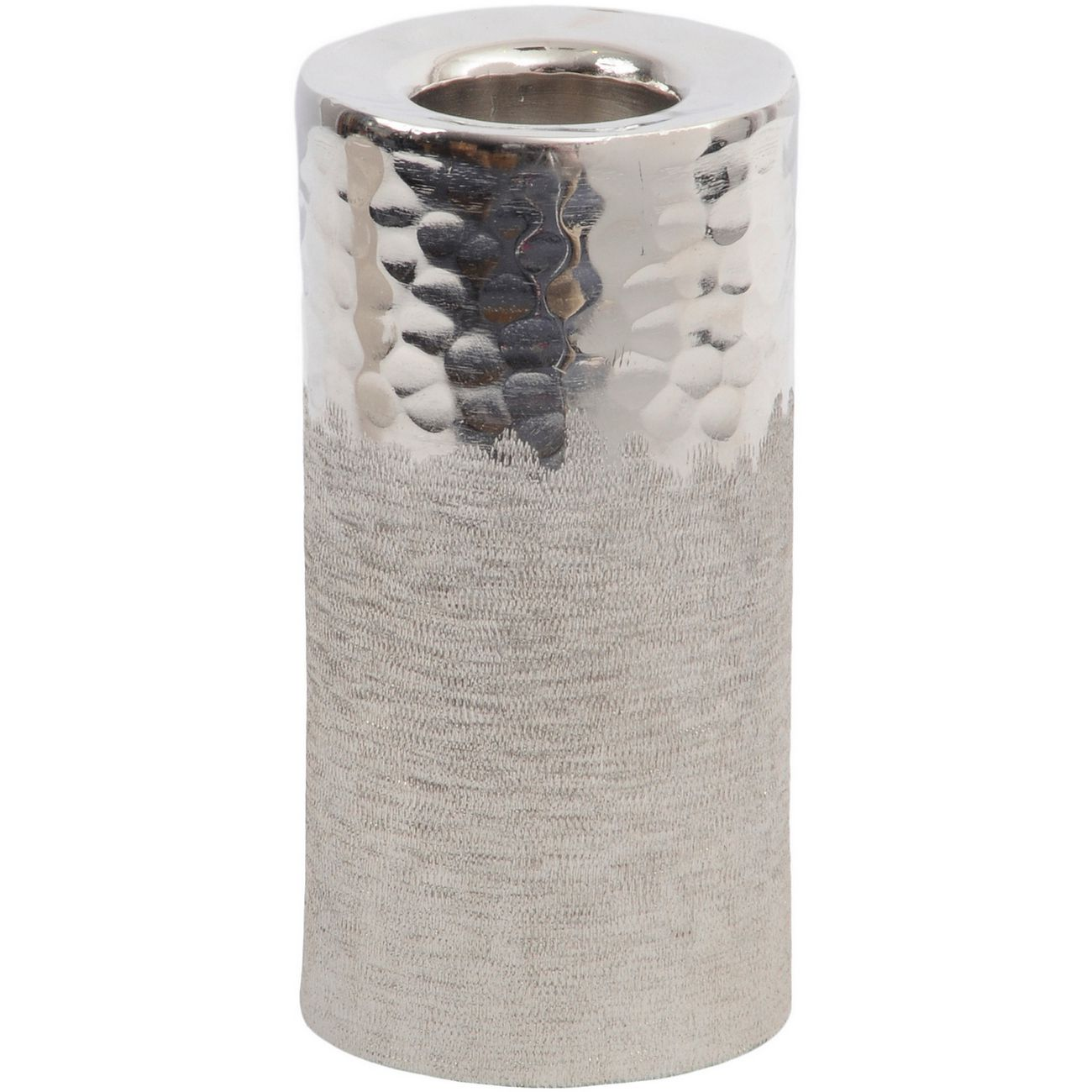Fuse Hammered and Brushed Large Tealight Holder in Silver Finish thumbnail