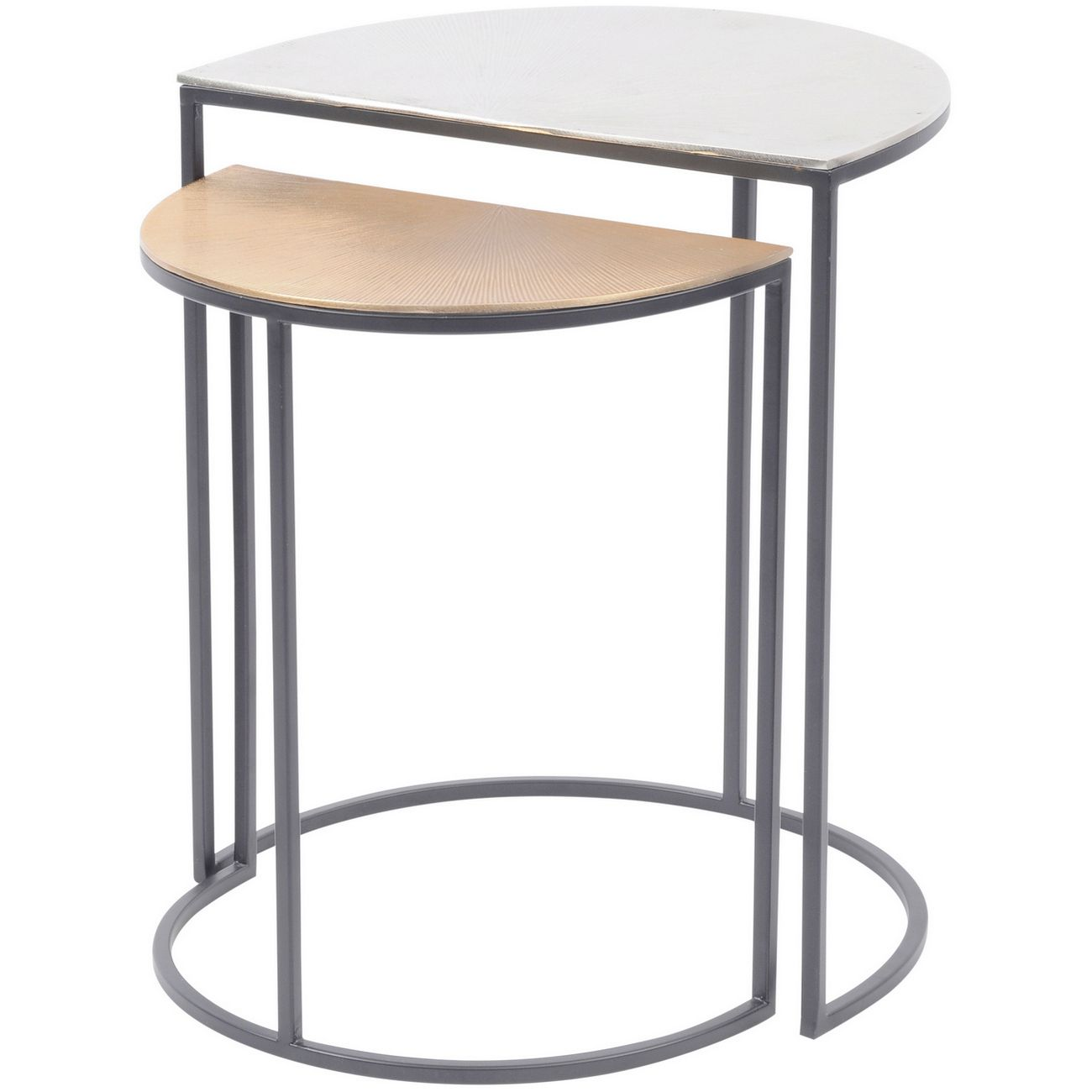 Starburst Set of Two Gold and Silver Semi Circle Starburst Side Tables thumbnail