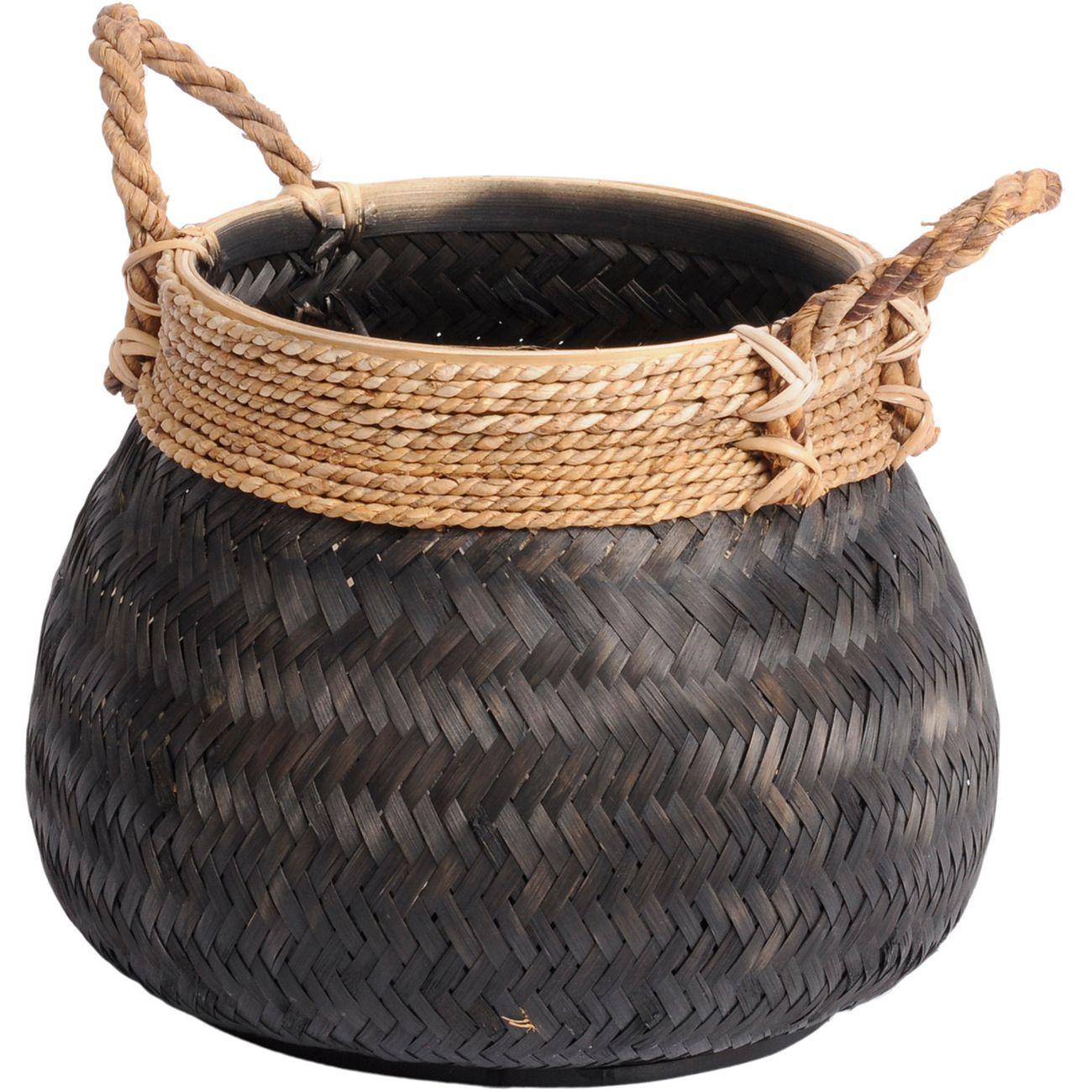 Matano Black Bamboo Basket 46x35cm thumbnail