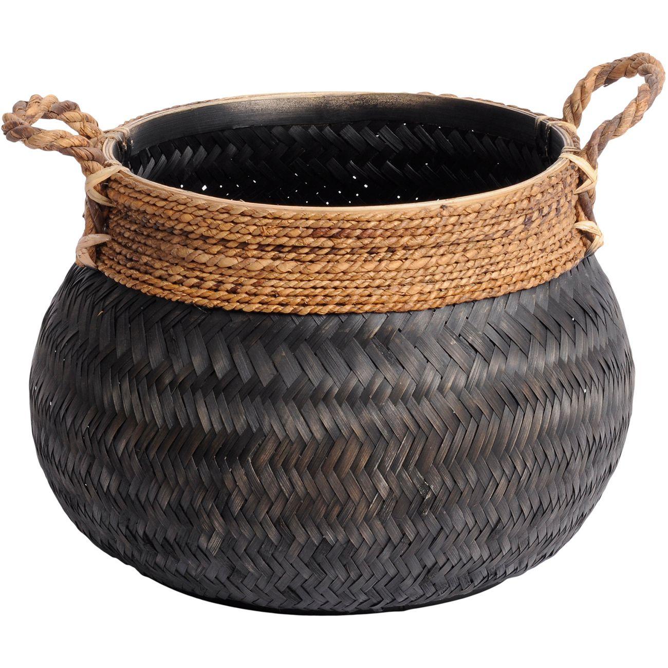 Matano Black Bamboo Basket 58x40cm thumbnail