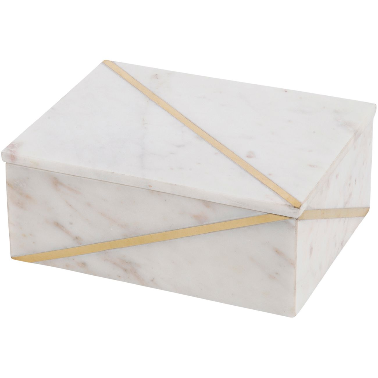 Tavora White and Gold Marble Box with Gold Inlay thumbnail