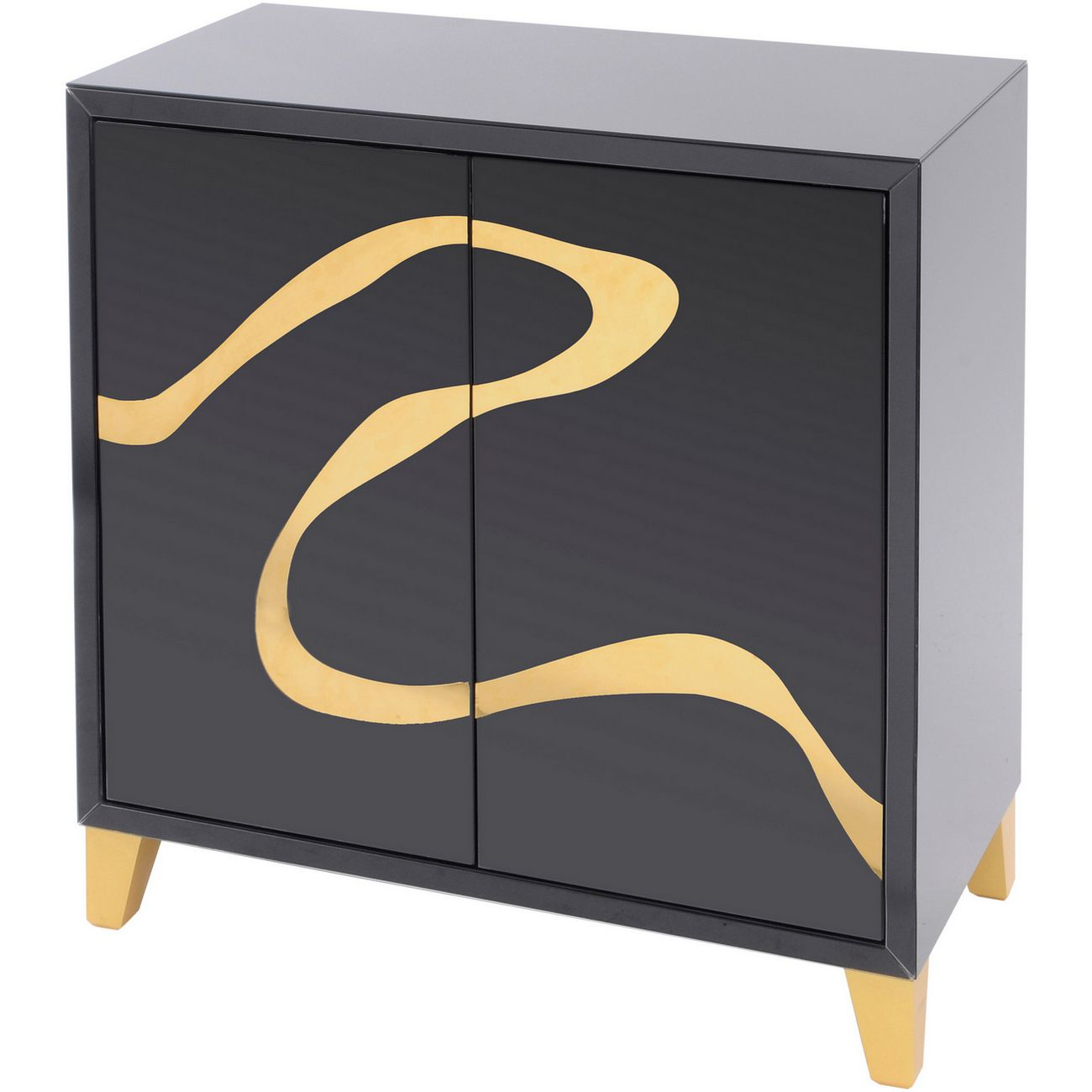 Taroko Black Mirrored Cabinet with Gold Motif thumbnail
