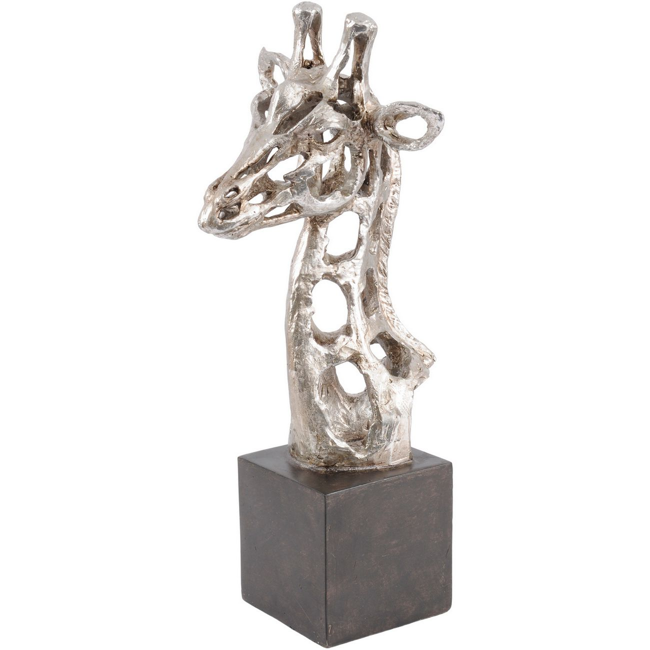 Addo Abstract Giraffe Head Sculpture in Silver Resin thumbnail