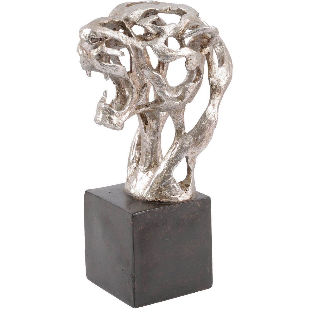 Addo Abstract Tiger Head Sculpture in Silver Resin thumbnail