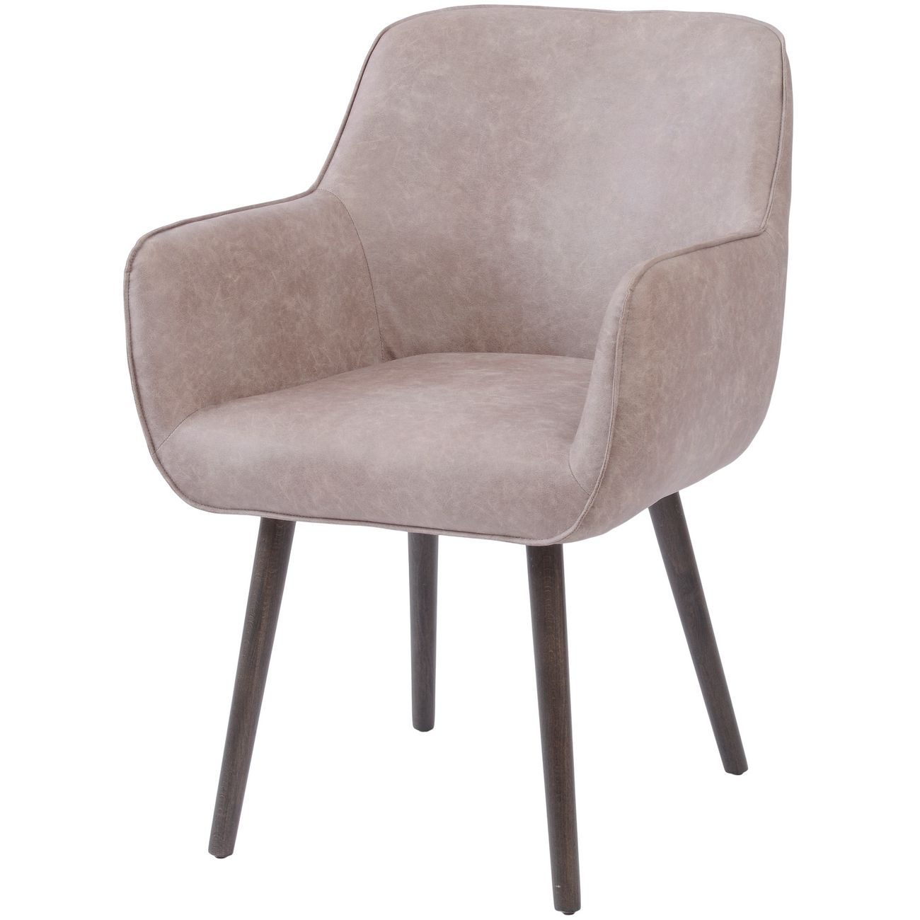 Grey Leather Look Retro Dining Chair with Arms thumbnail