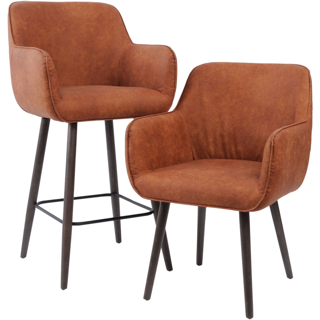 Tan Leather Look Retro Dining Chair With Arms The Libra Company