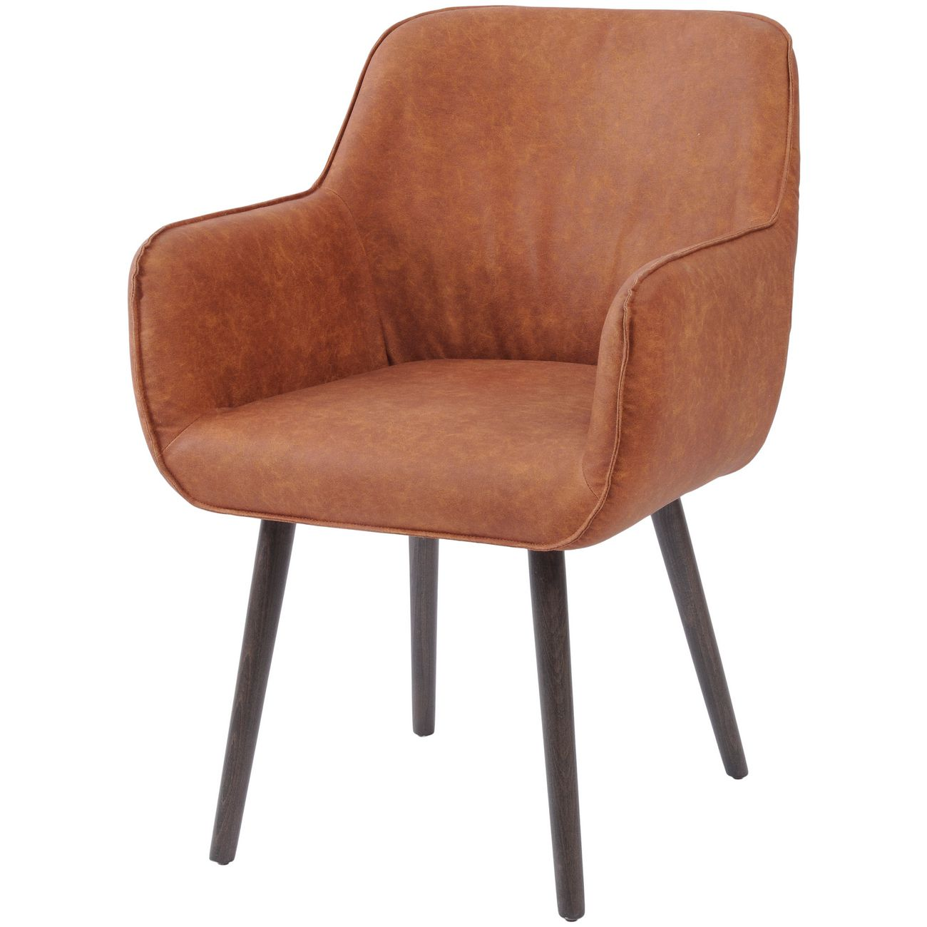 Tan Leather Look Retro Dining Chair with Arms thumbnail