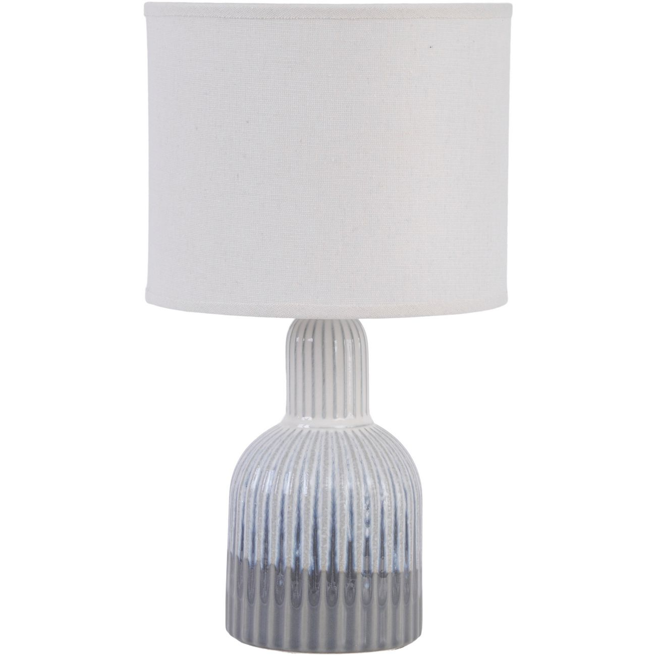 Grey Porcelain Lamp with Ribbed Detailing and White Shade, Large  E27 60W thumbnail