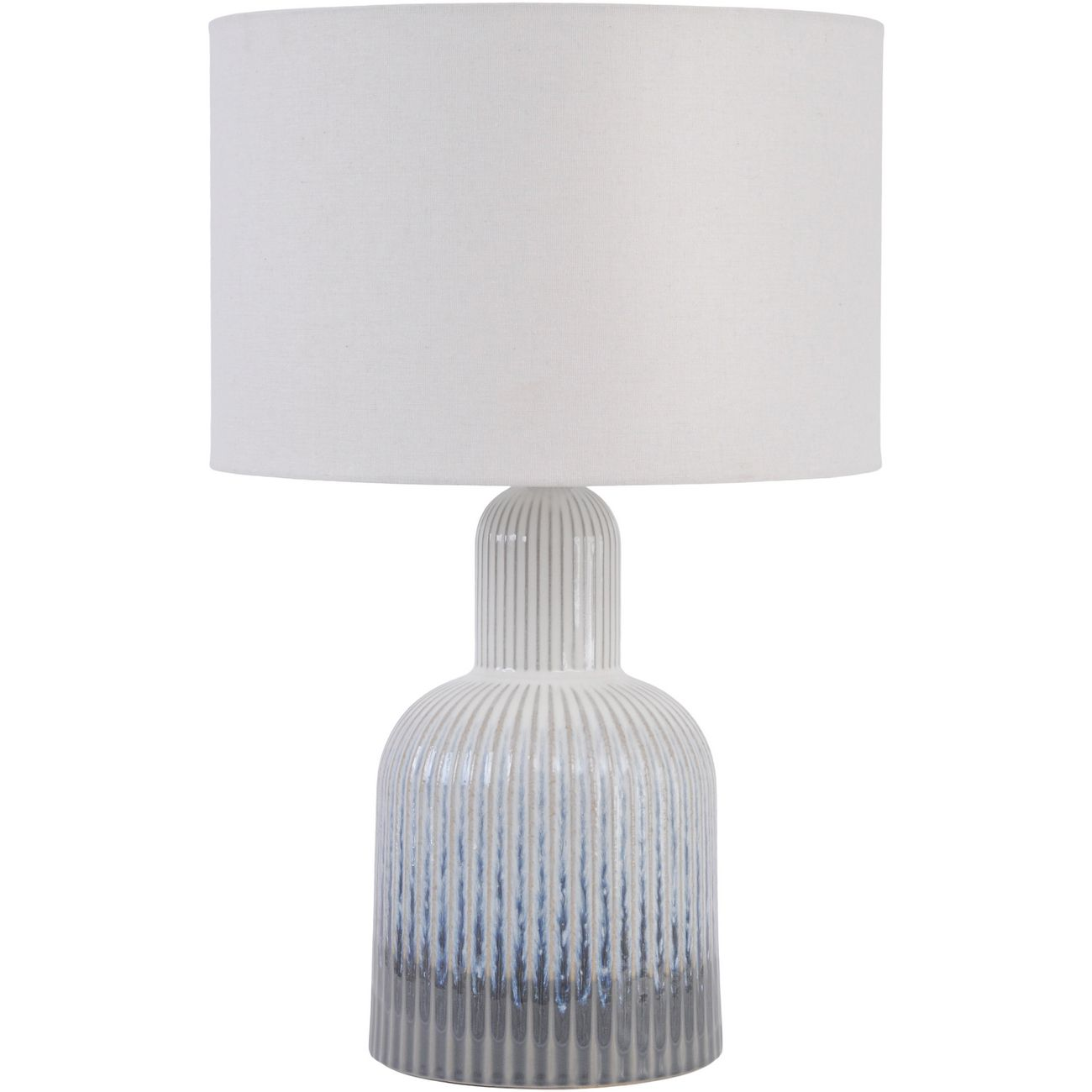 Grey Porcelain Lamp with Ribbed Detailing and White Shade, Small  E14 40W thumbnail