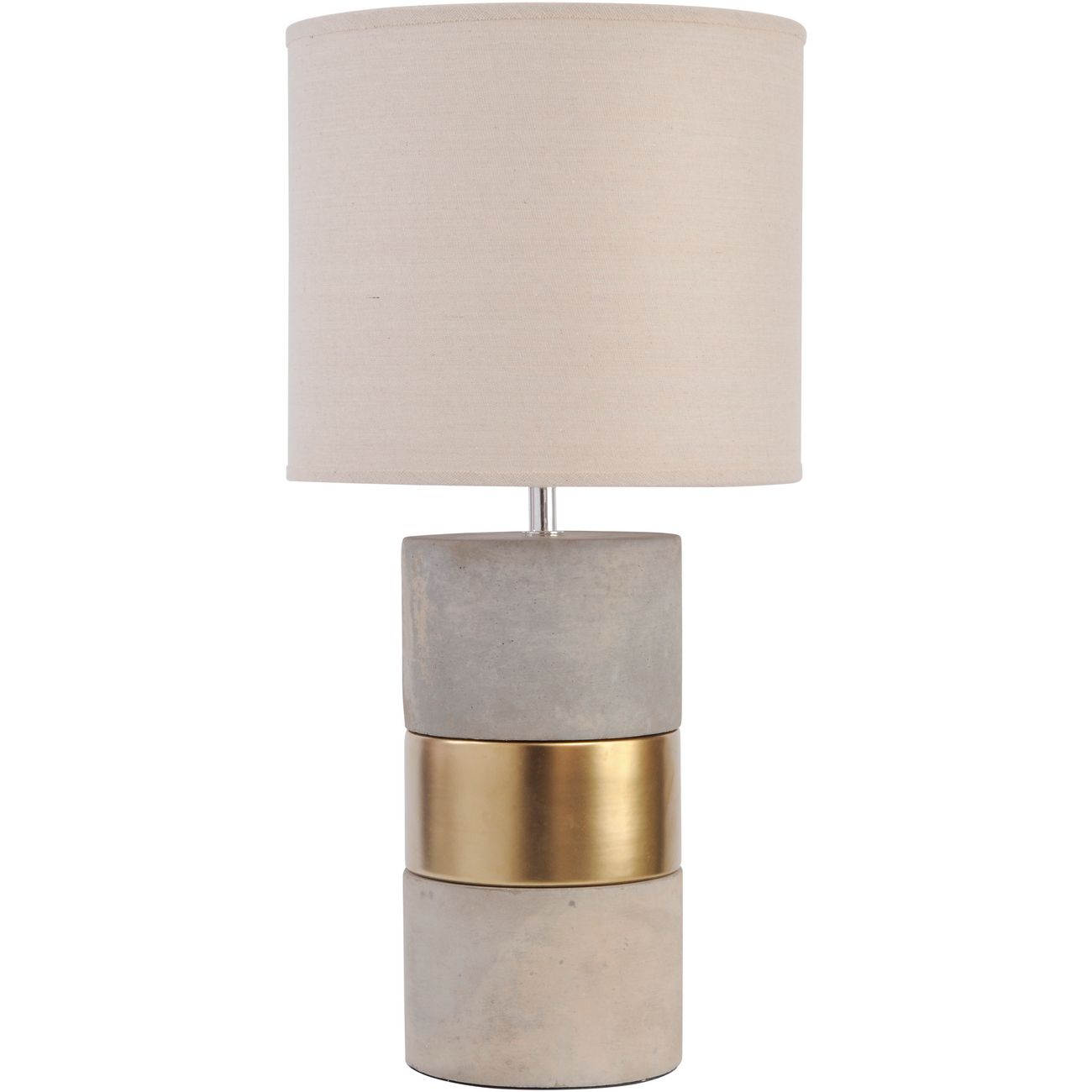 Concrete and Gold Table Lamp with Natural Shade  E27 60W thumbnail