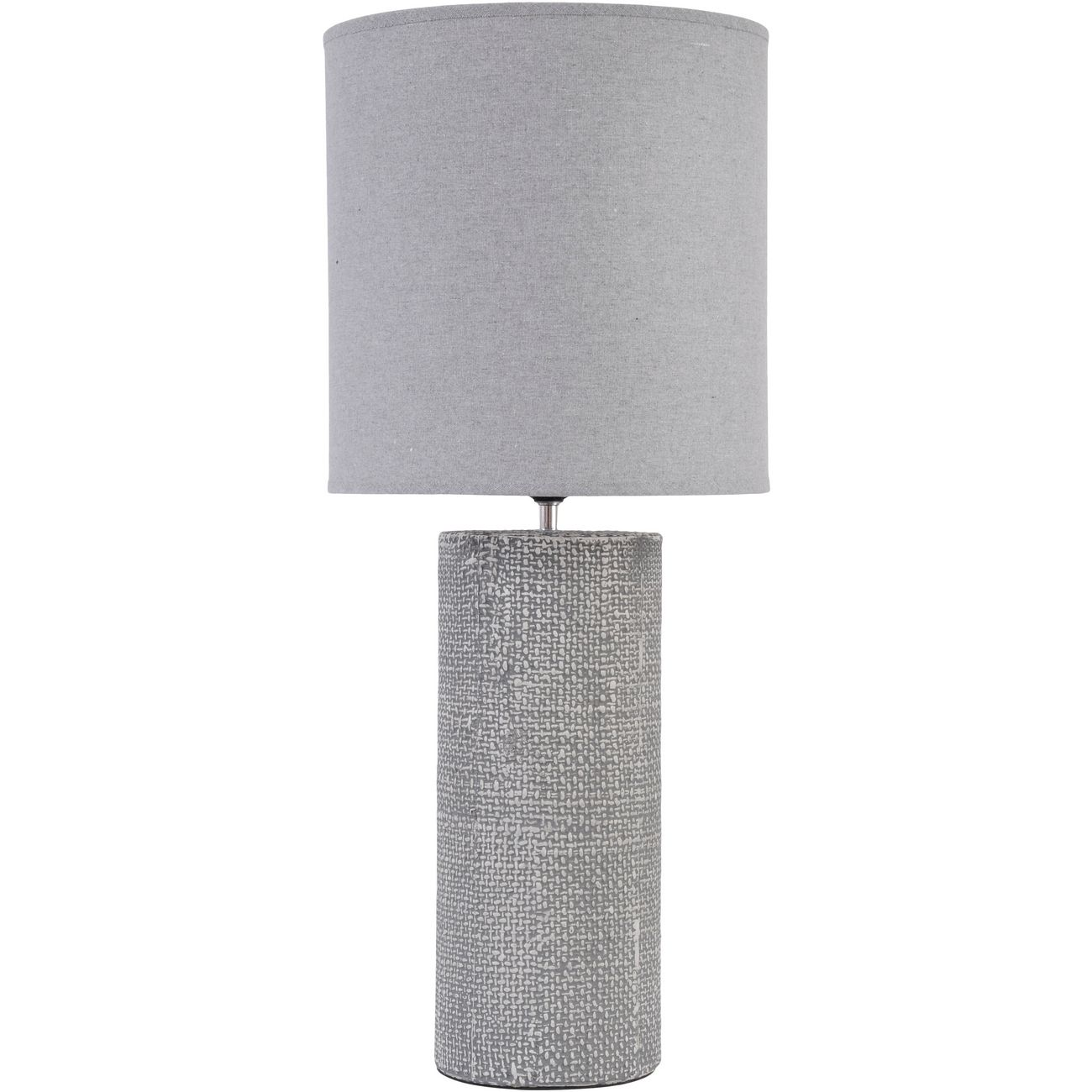 Tall Grey Textured Porcelain Table Lamp With Shade  E27 60W thumbnail