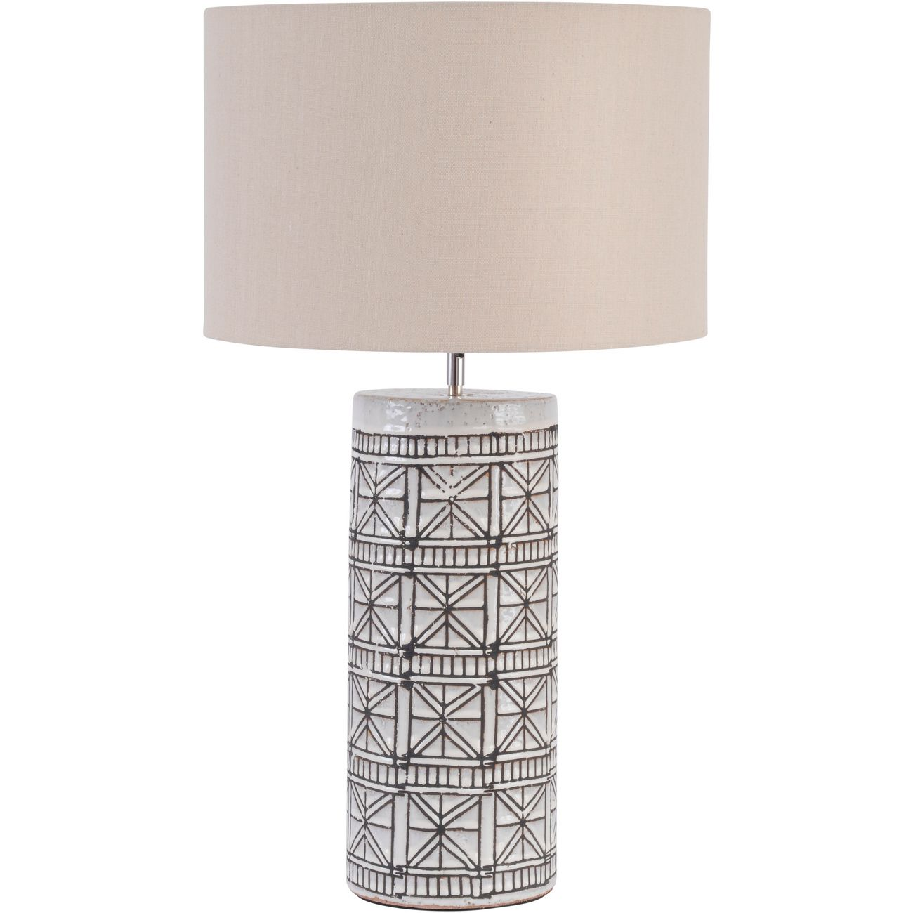 Brown Porcelain Table Lamp w/ Geo Pattern & Natural Shade, Large E27 60W thumbnail