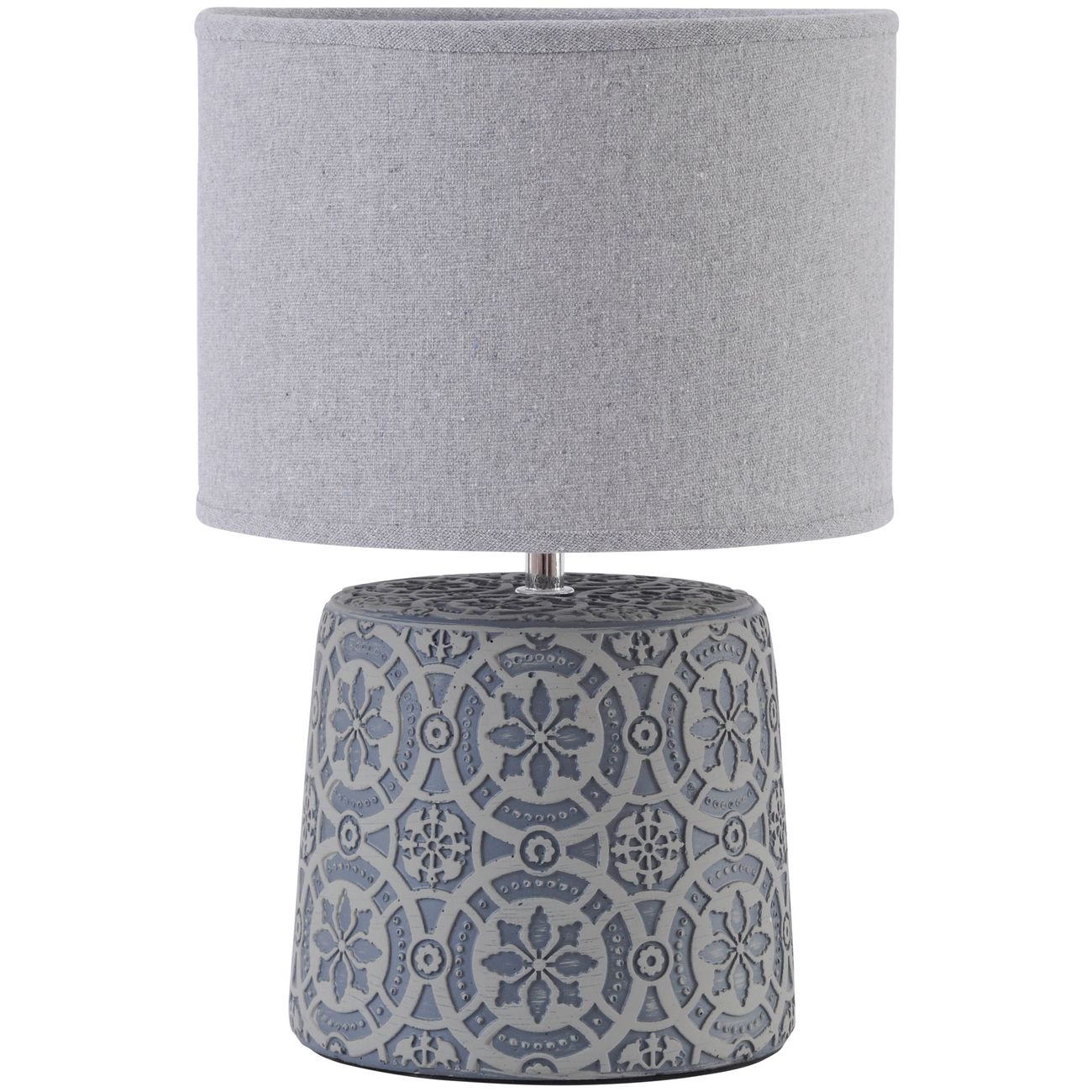Vedder Grey Concrete Lamp With Geometric Pattern and Shade E14 thumbnail