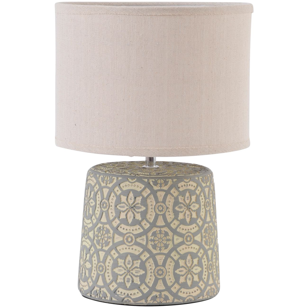 Vedder Cream Concrete Lamp With Geometric Pattern and Shade E14 thumbnail