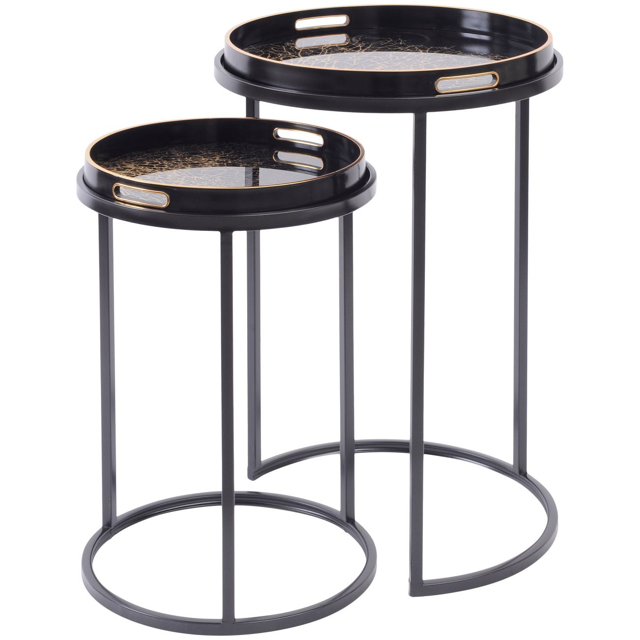 Set of Two Tray Top Coral Design Nesting Side Tables thumbnail