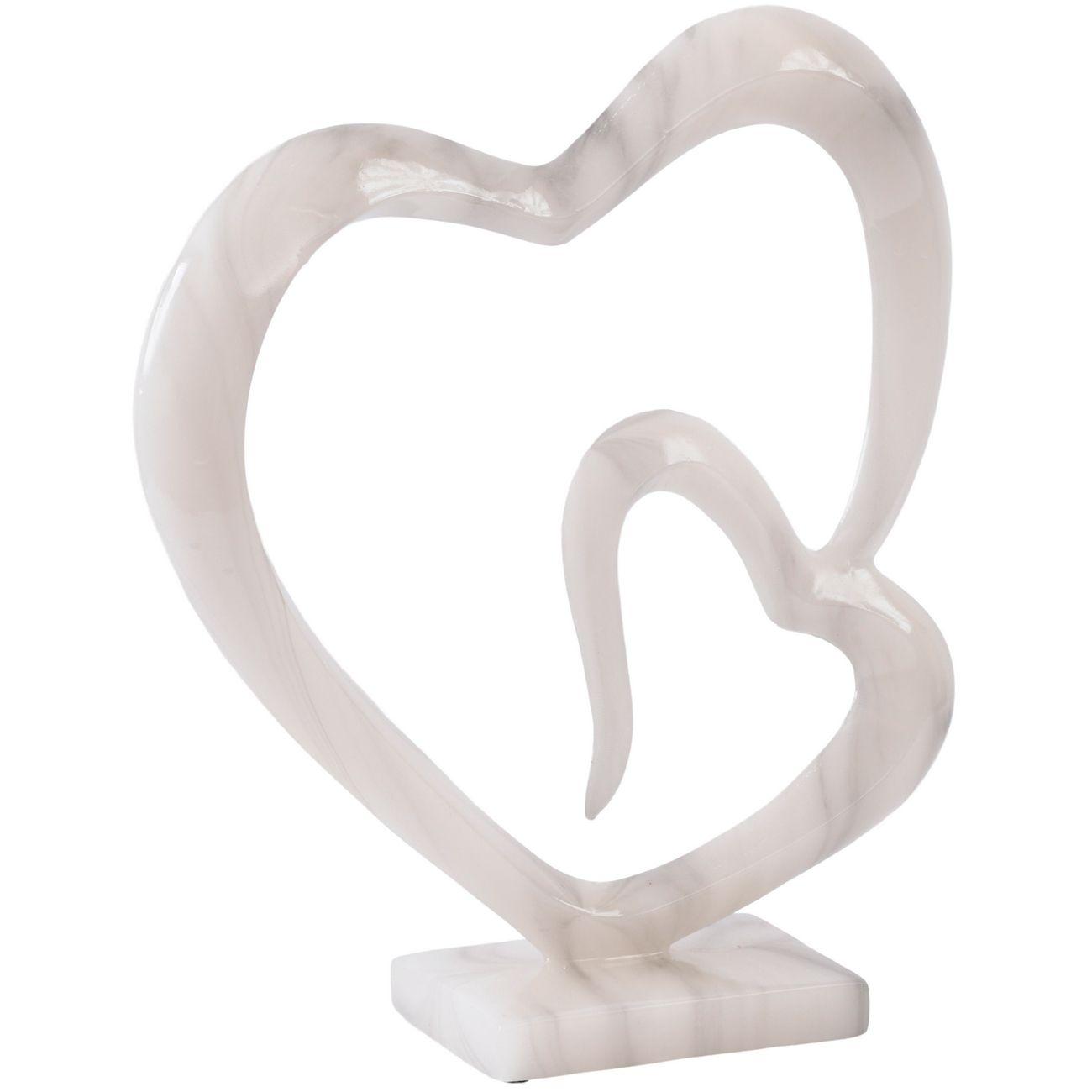 White Marble Finish Double Heart Sculpture thumbnail