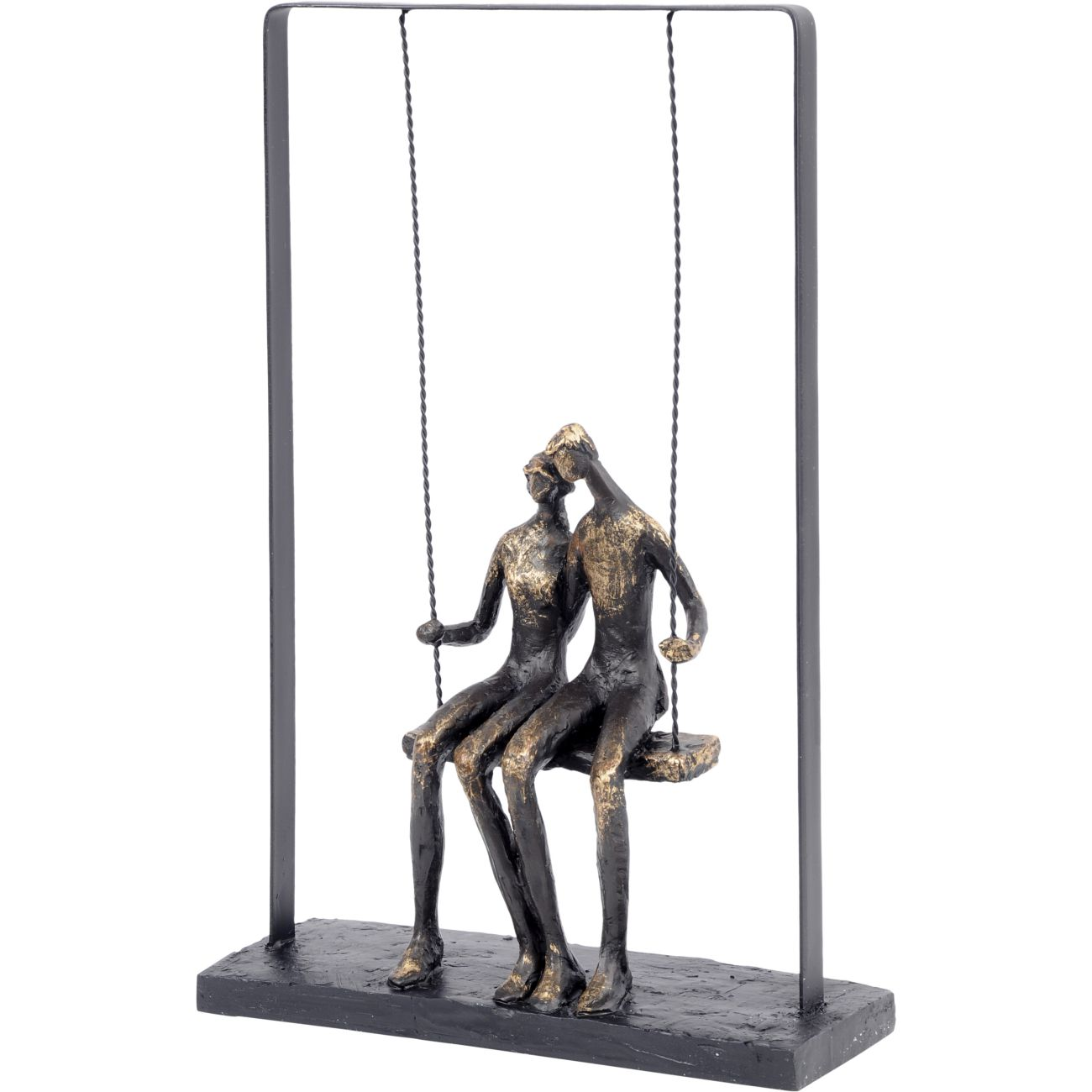 Couple Sitting on Swing Bronze Figurative Sculpture thumbnail