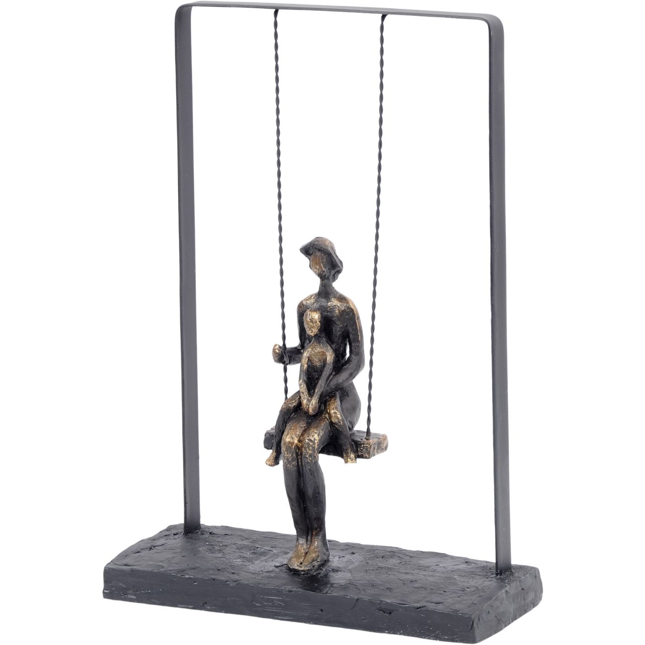 Mother and Baby on Swing Bronze Figurative Sculpture thumbnail