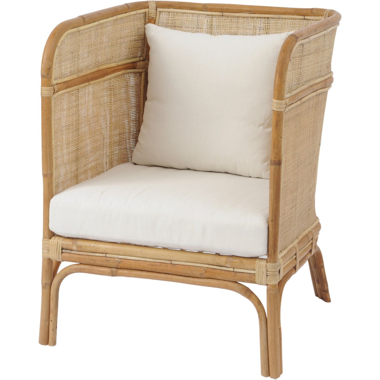 Toba Natural Rattan Occasional Chair with High Wrap Round Back thumbnail