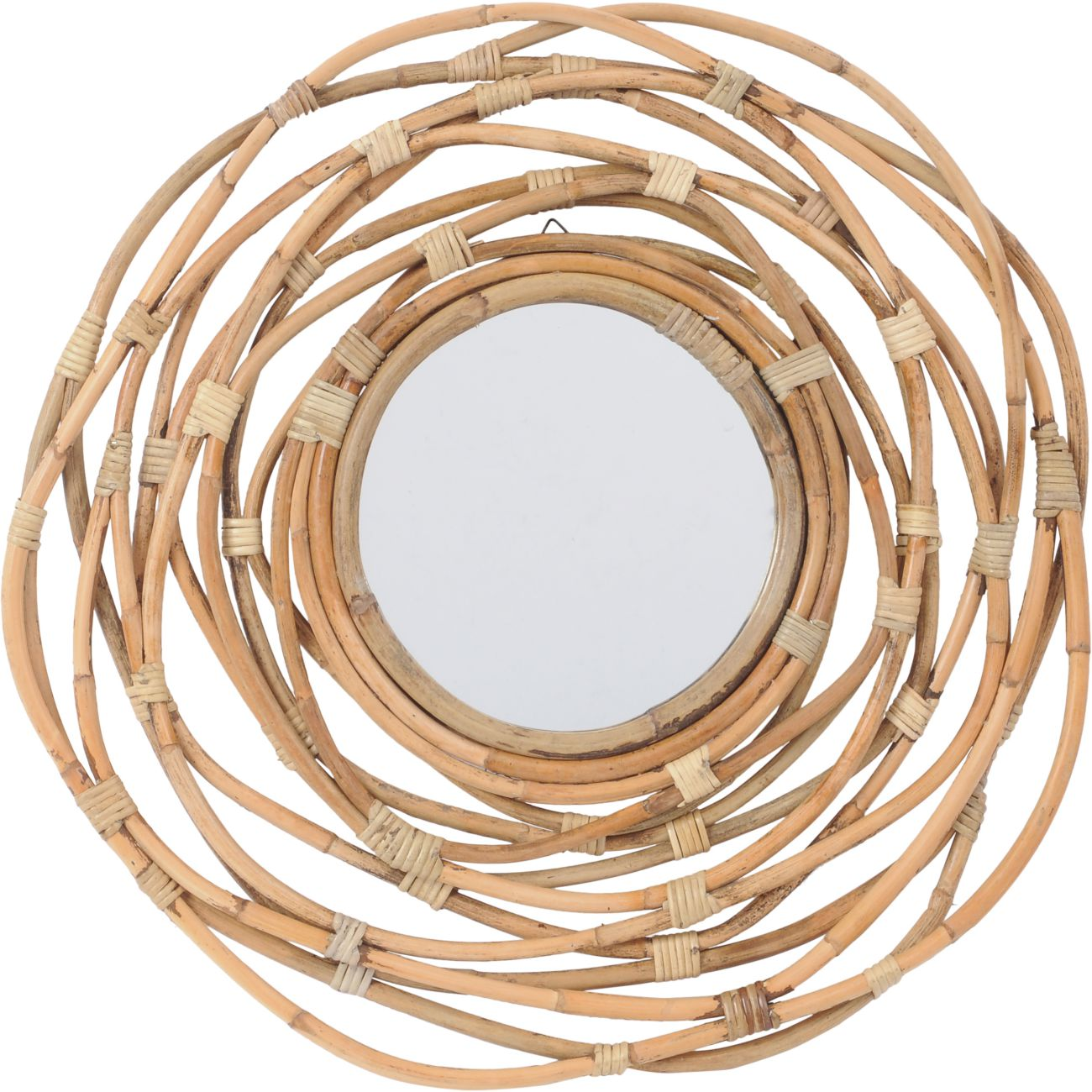 Natural Rattan Round Mirror in Brown with Looped Cane Frame thumbnail