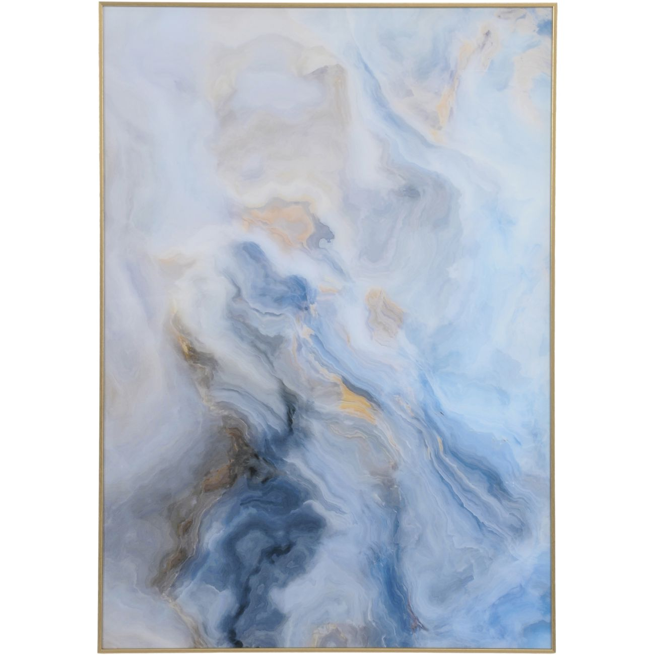Blue And Gold Marble Effect Glass Wall Art 70x100cm thumbnail