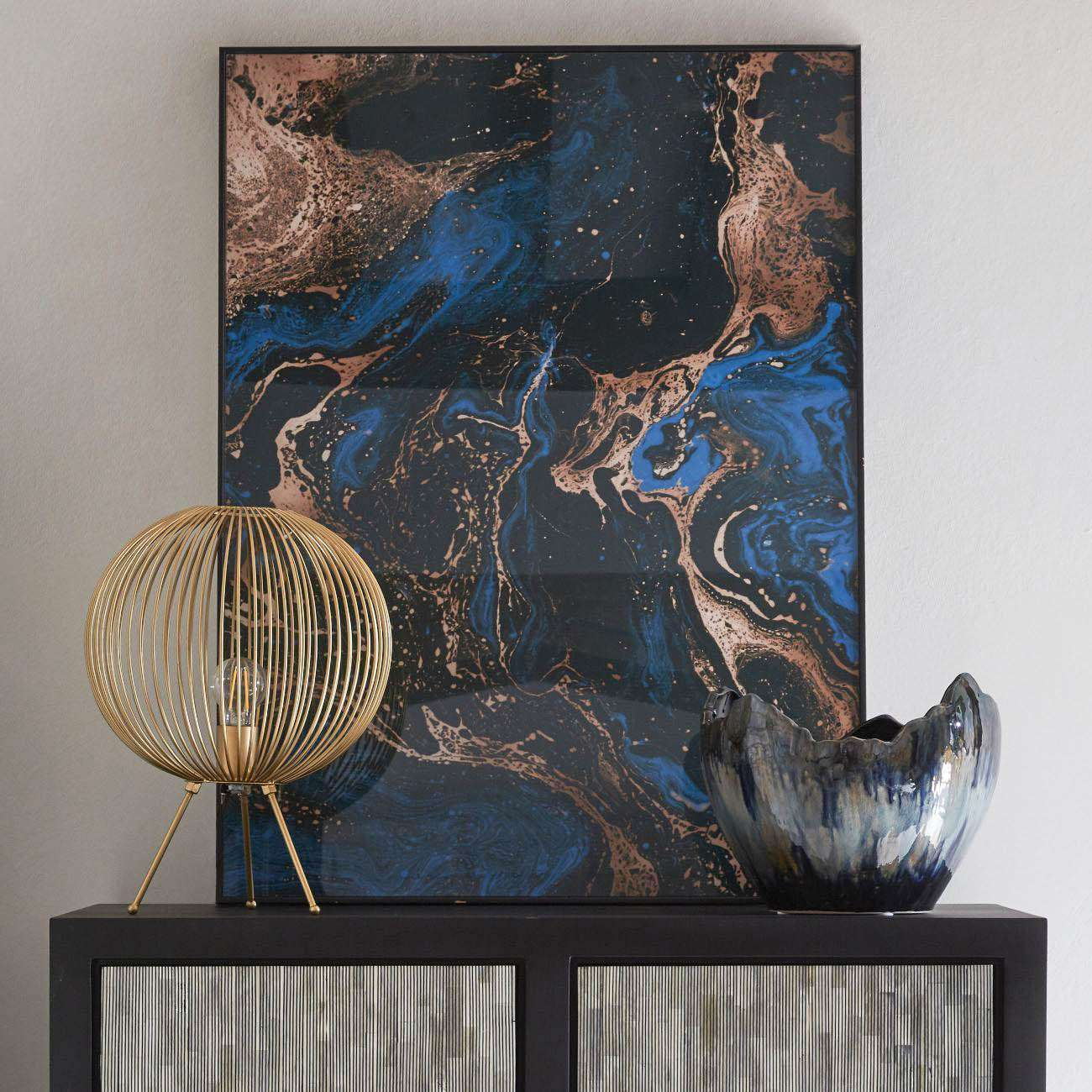 Blue Black And Gold Marble Effect Glass Wall Art 70x100cm Libra Interiors