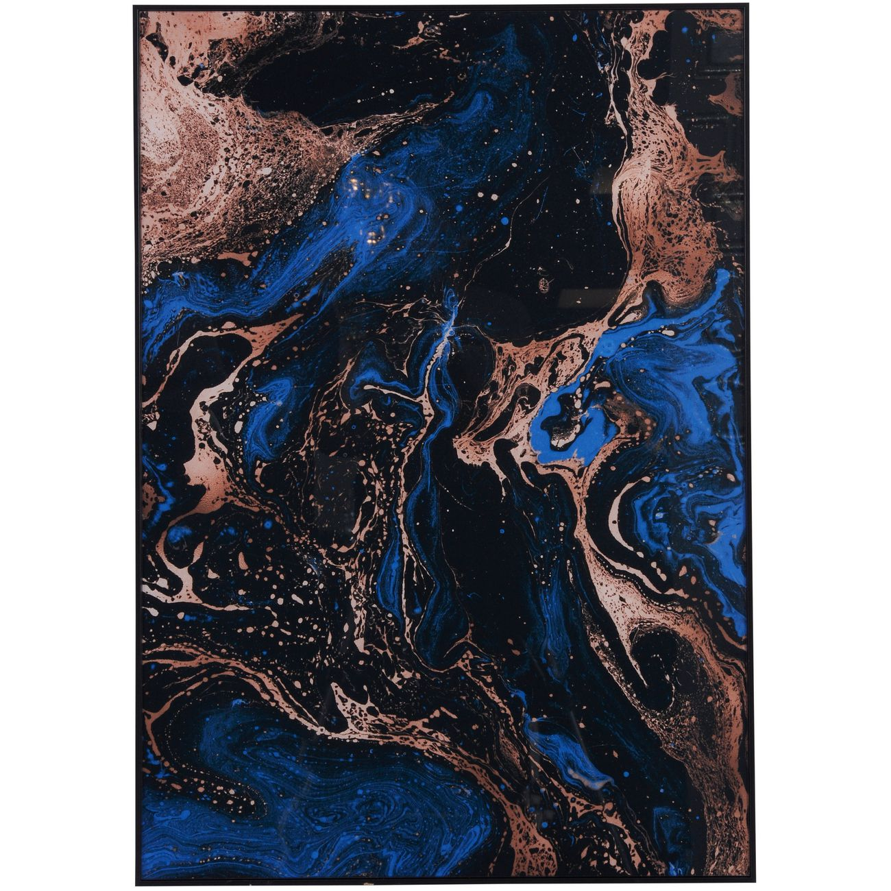 Blue, Black And Gold Marble Effect Glass Wall Art 70x100cm thumbnail