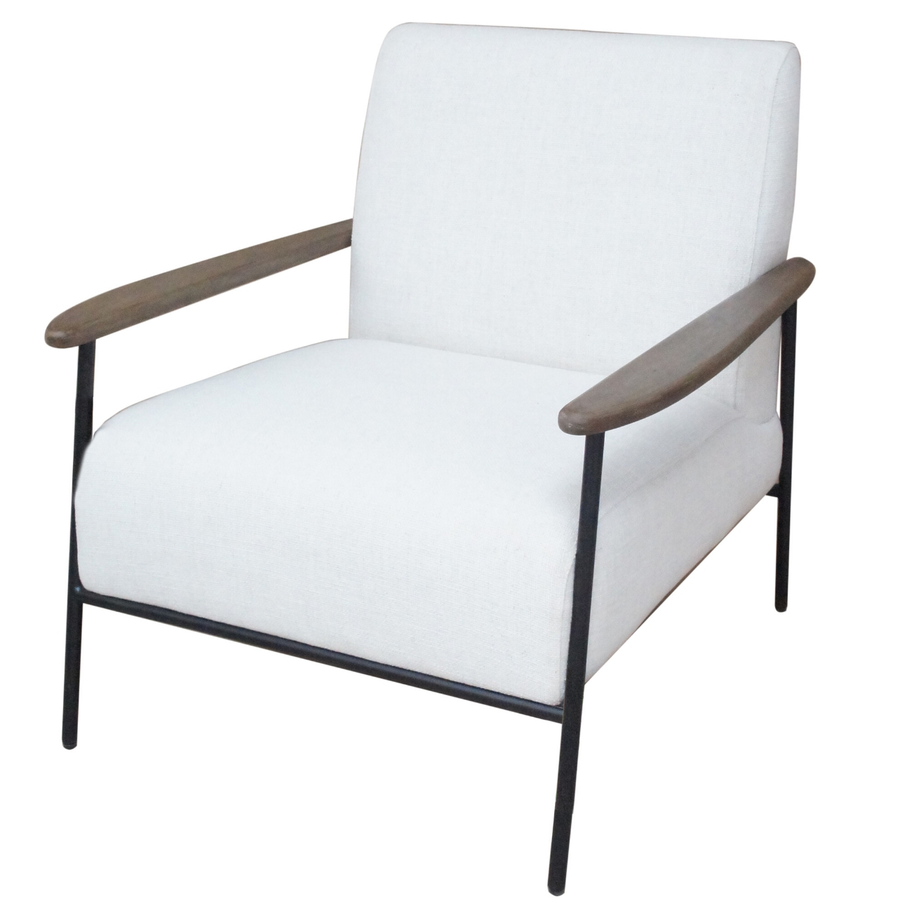 Foundry Pale Grey Upholstered Armchair With Wooden Arm And Steel Frame thumbnail
