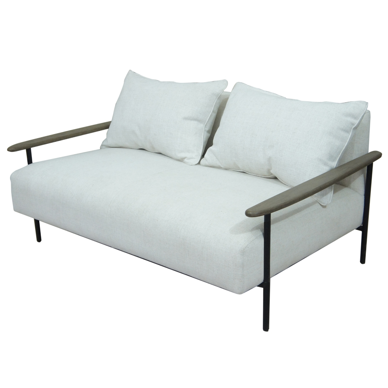Foundry Pale Grey Upholstered Two Seater Sofa With Wooden Arm And Steel Frame thumbnail