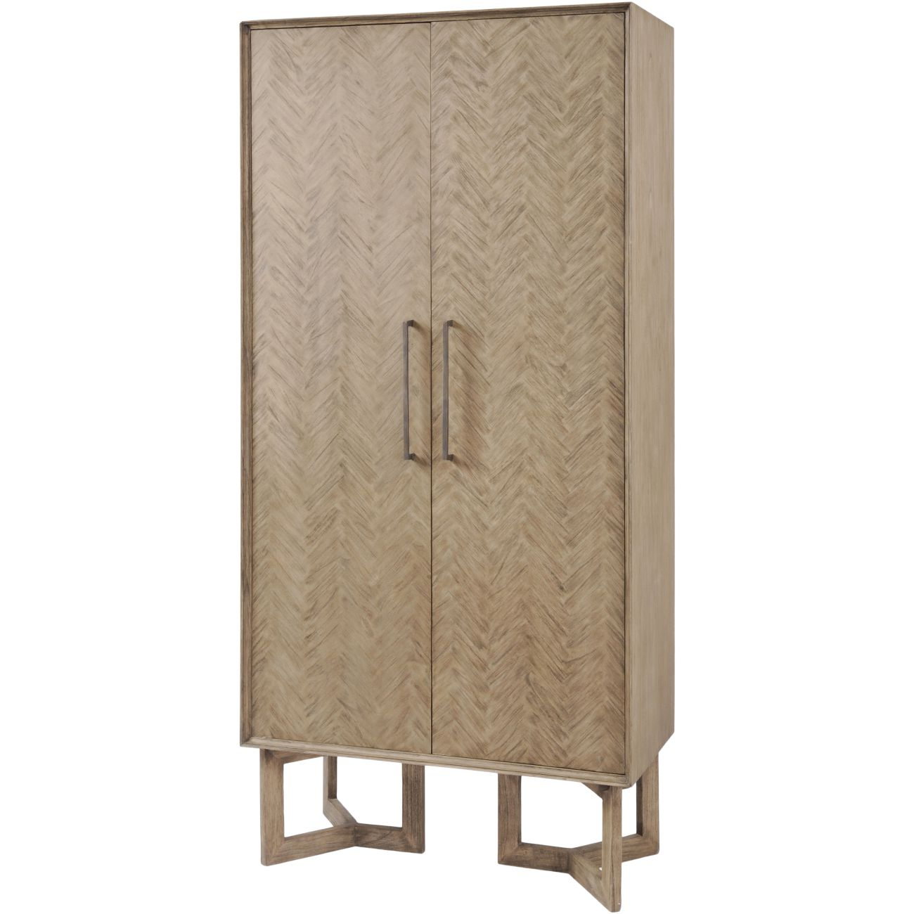 Dowell Tall Two Door Mindi Wood Cabinet With Parquety Design thumbnail
