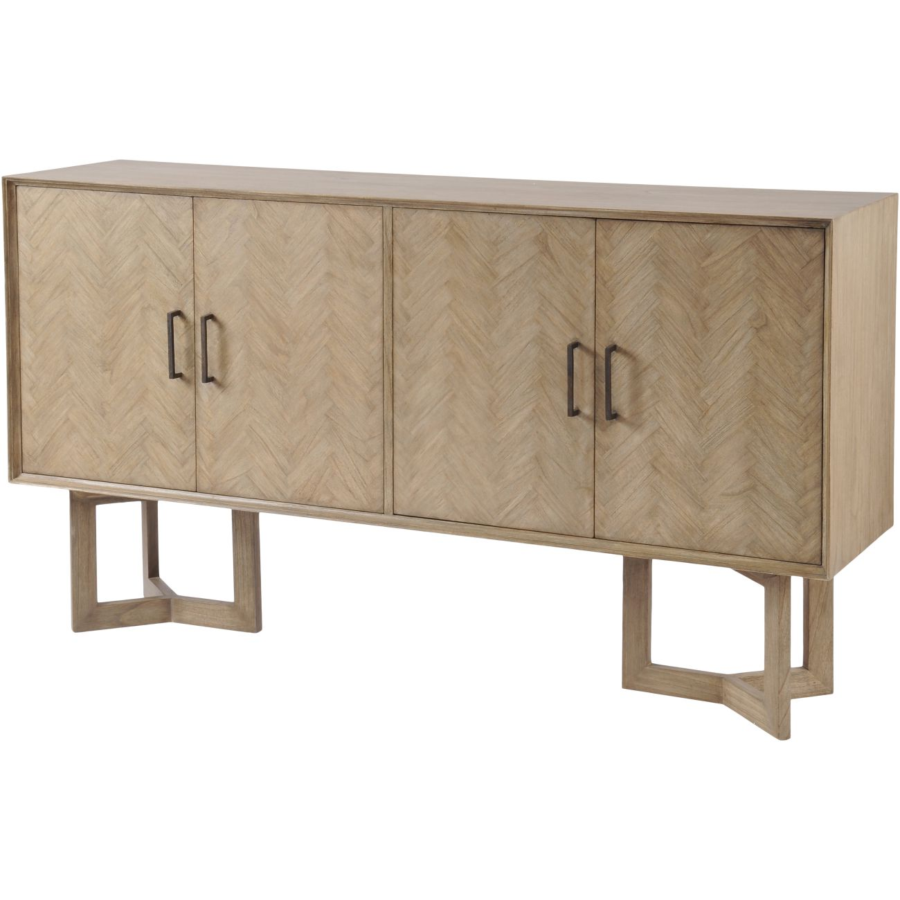 Dowell Four Door Mindi Wood Buffet Cabinet With Parquetry Design thumbnail