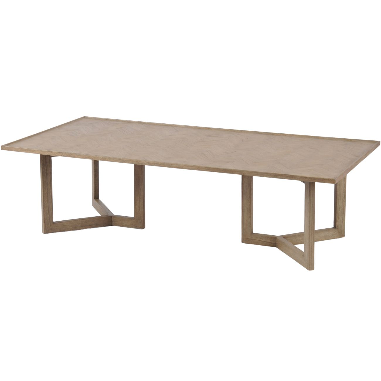 Dowell Rectangular Mindi Wood Coffee Table With Parquetry Design thumbnail