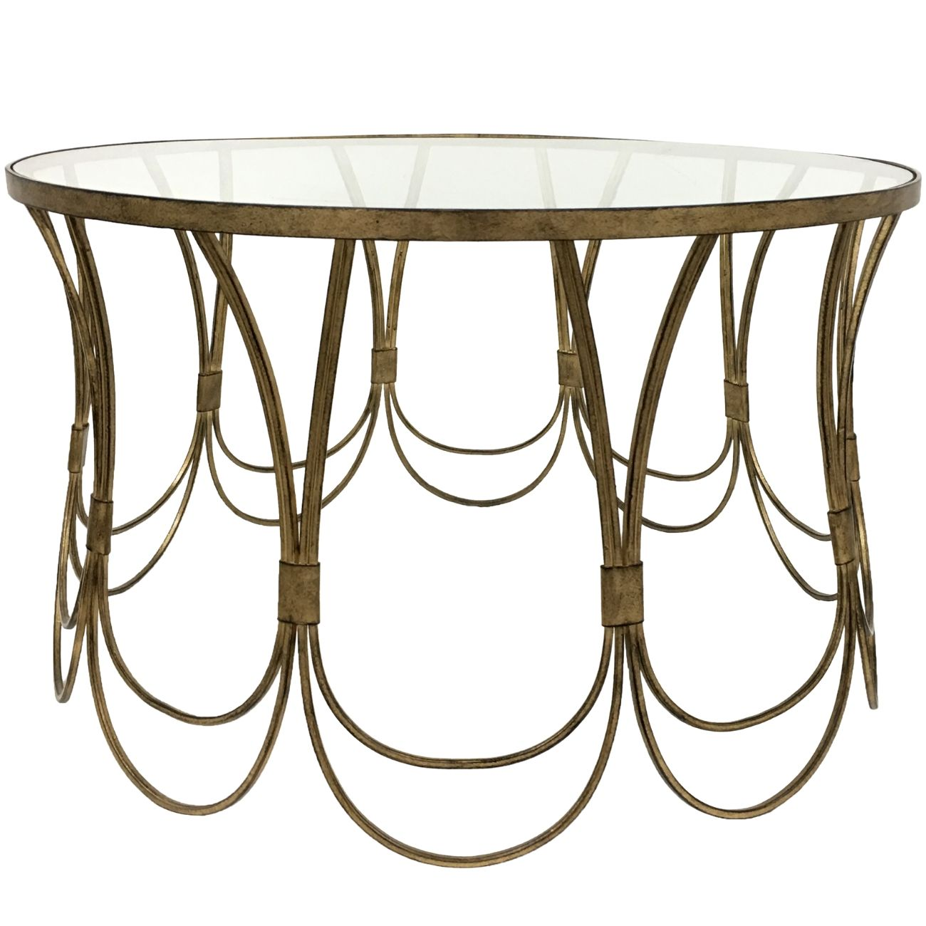 Deco Champagne Iron Coffee Table With Scallop Detail thumbnail