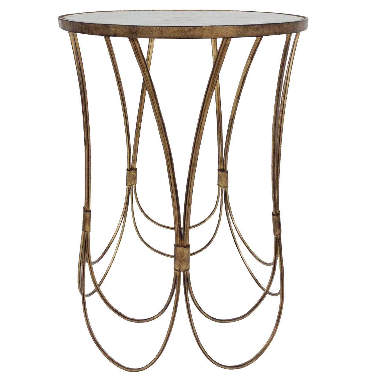 Deco Champagne Iron Side Table With Scallop Detail thumbnail